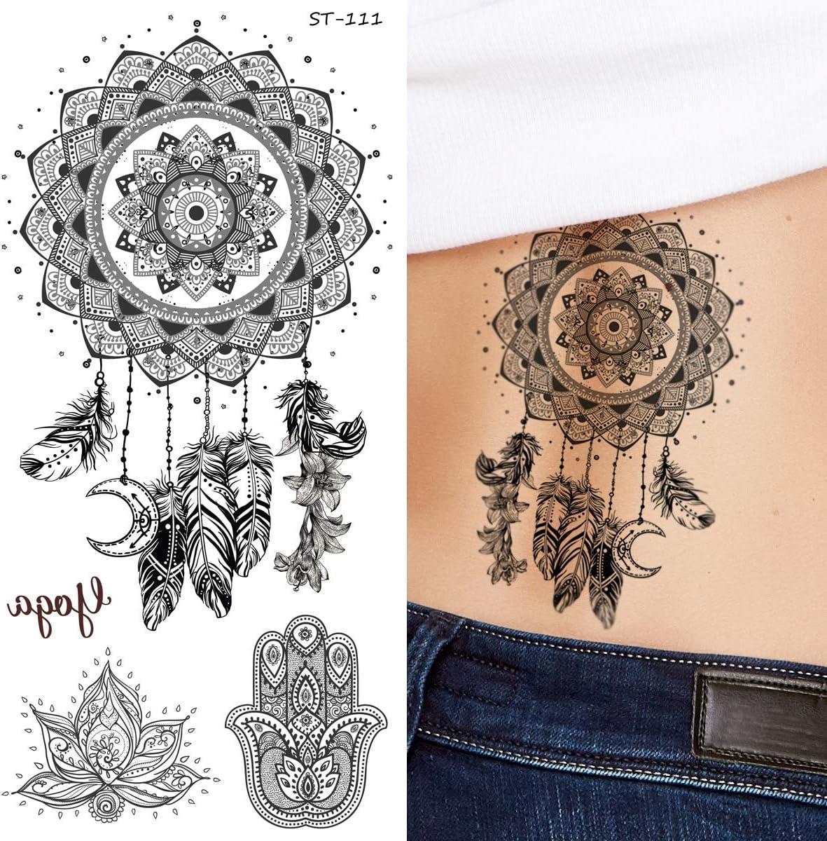 Supperb Tatuajes temporales – Negro y blanco atrapasueños ...