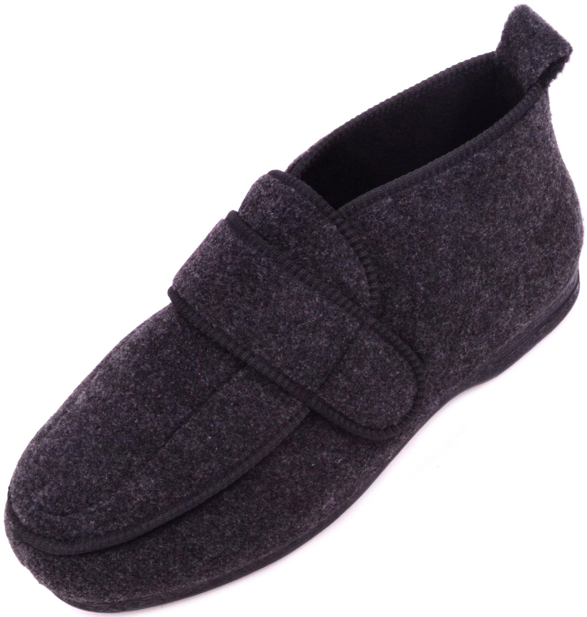 Mens Orthopaedic / EEE Wide Fit Adjustable Velcro Slipper Boot / Slippers - Charcoal - US 8