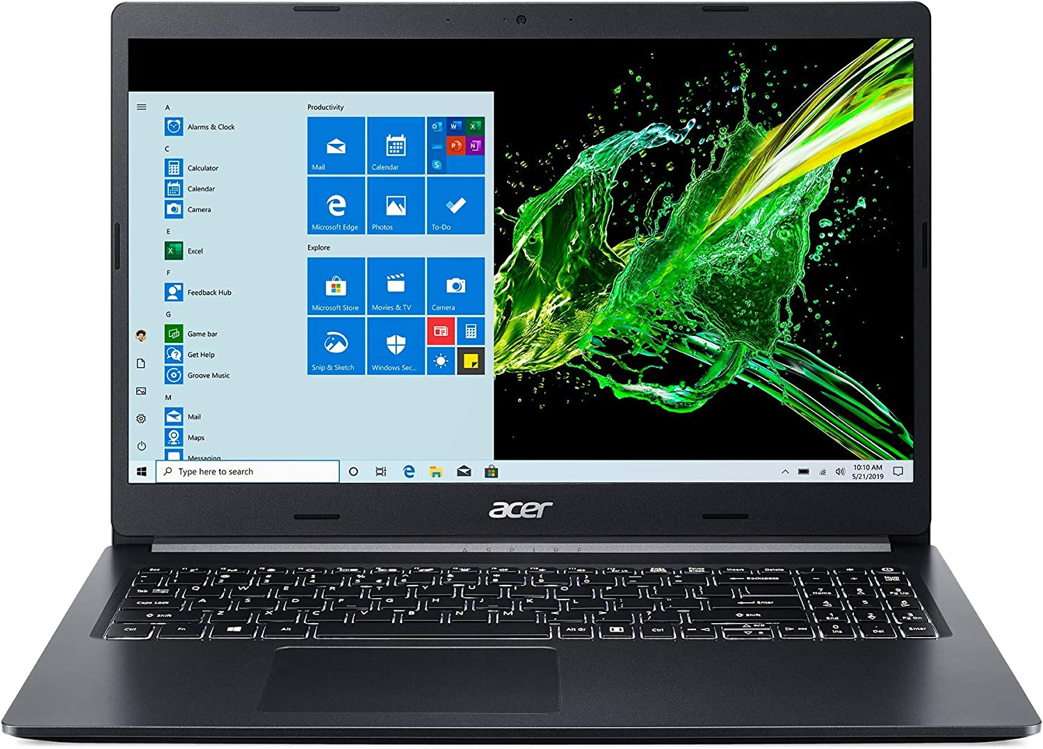 "Acer Aspire 5 A515-55T-53AP, 15.6"" HD Touch Display, 10th Gen Intel Core i5-1035G1, 8GB DDR4, 256GB NVMe SSD, WiFi 6, HD Webcam, Backlit Keyboard, Windows 10 Home"
