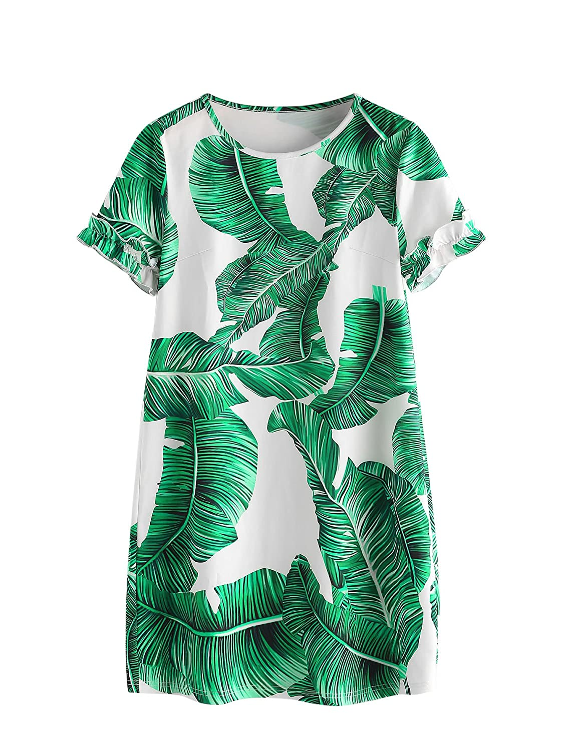 3f1d59bbca1 Floerns Women s Palm Leaf Print Short Sleeve Summer Dress at Amazon Women s  Clothing store