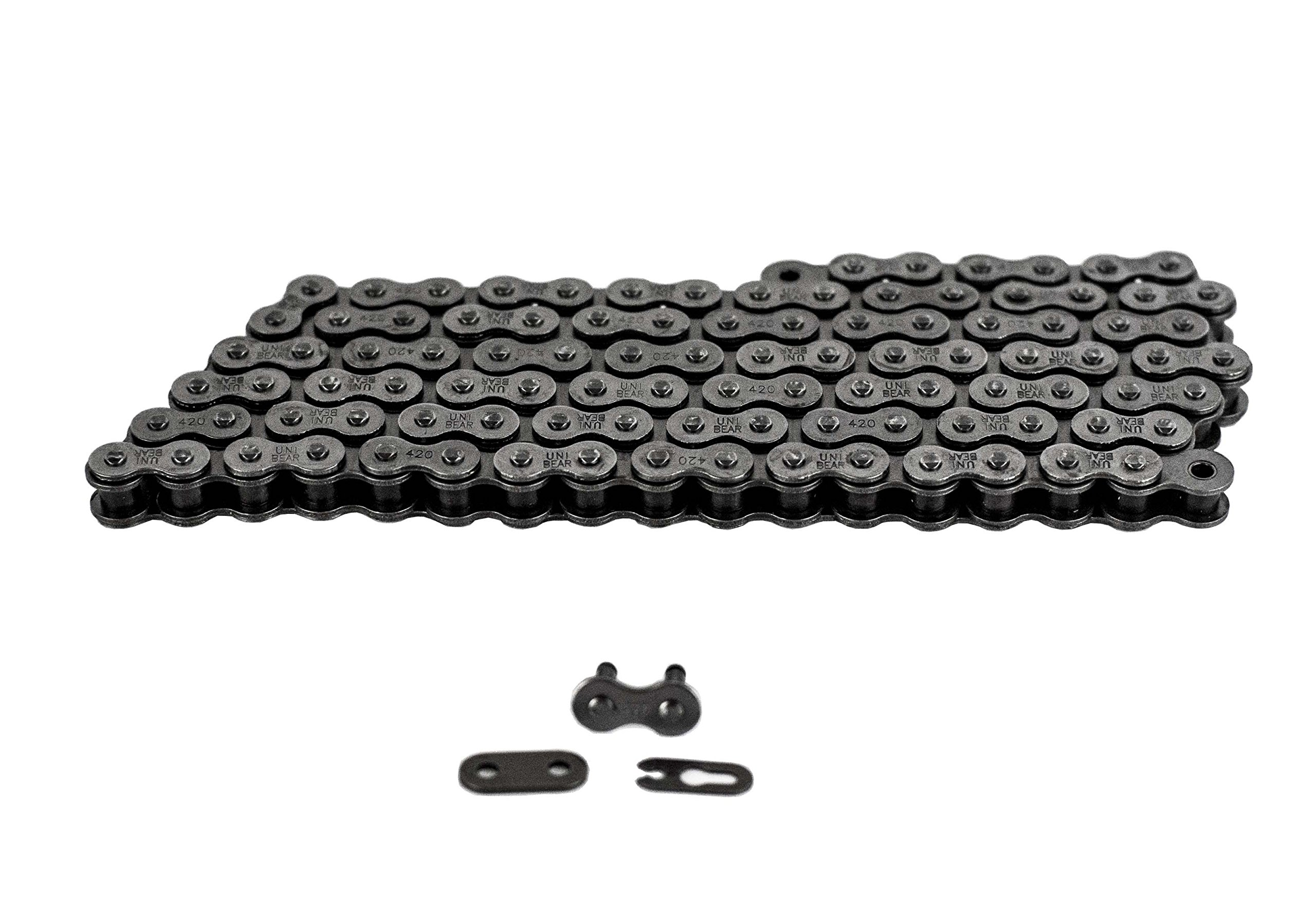 420 Motorcycle Chain 128-Link with 1 Connecting Link Natural, Go Kart, Mini Bike