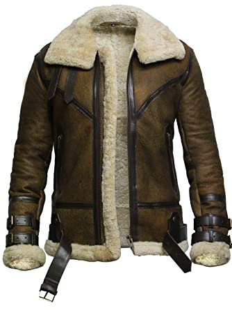 473d8a17f Brandslock Mens Genuine Shearling Sheepskin Leather Bomber Flying Jacket  Pilot Aviator B3 WWII
