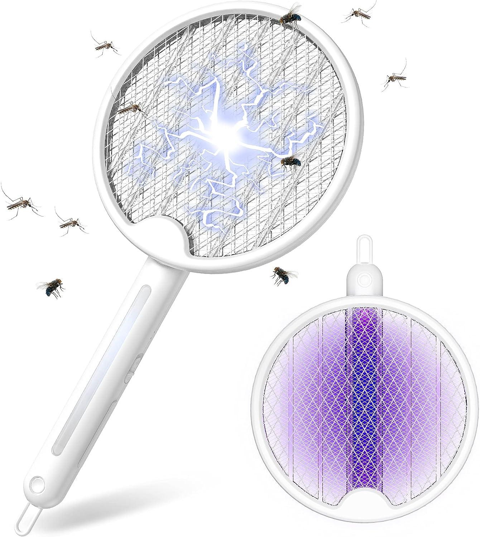 FLASHVIN Elektrische Fliegenklatsche 4000V Fliegenpatschern Klappbare Insektenfalle Fliegenfänger mit 1200mAh Akku USB extra Stark für Mücken Insekten mit UV/LED Licht 2 Schutzgitter, weiß