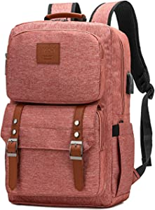 Laptop Backpack Women Men College Backpacks Bookbag Vintage Backpack Book Bag Fashion Back Pack Anti Theft Travel Backpacks with Charging Port fit 15.6 Inch Laptop Pink