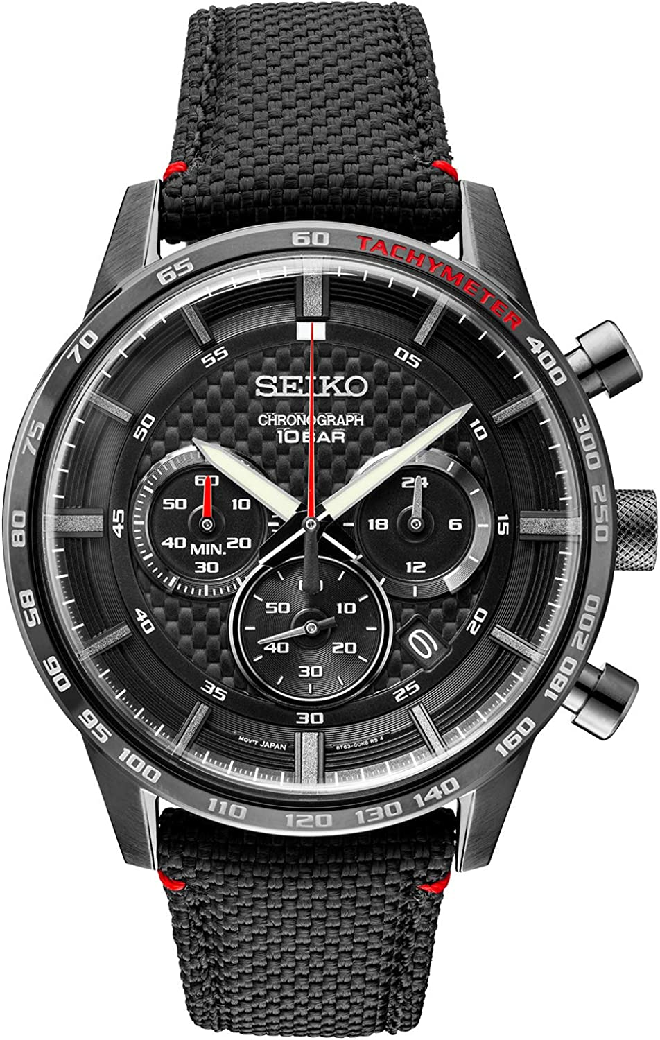 Seiko Men s Stainless Steel Japanese Quartz Leather Calfskin Strap, Black, Casual Watch Model SSB359