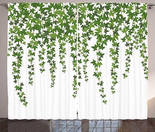 ABAKUHAUS vides Cortinas, Tema del jardín Hojas de Vid, Sala de Estar Dormitorio Cortinas Ventana Set de Dos Paños, 280 x 245 cm, Helecho Verde Blanco: Amazon.es: Hogar