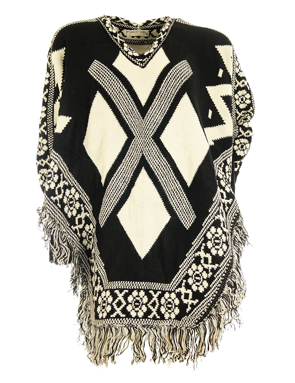 Damen Pullover mit Langarm Poncho Cape mit Fransen und Aztec Muster Pullover Jacke Longpullover Cardigan
