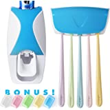 Automatic Toothpaste Dispenser and Toothbrush Holder Plus 5 Colorful Toothbrush Head Covers - Keeps Oral Care Tools Organized and Clean - 7 PC Dental Care Kit Keeps Toothbrushes Clean and Trains Kids