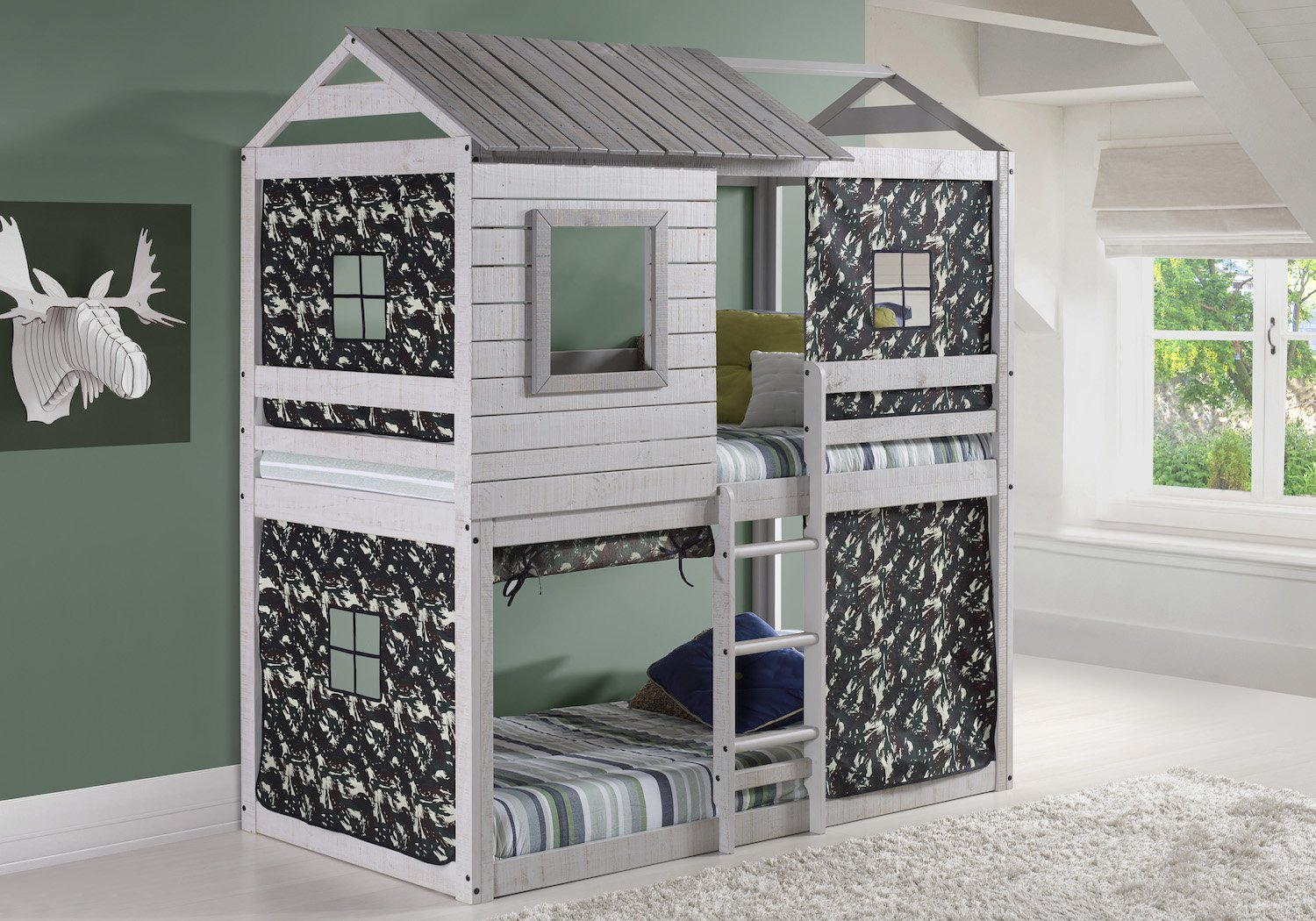 Amazon.com: House Double Bunk Beds With Camouflage Tents   Free Storage  Pockets: Kitchen U0026 Dining