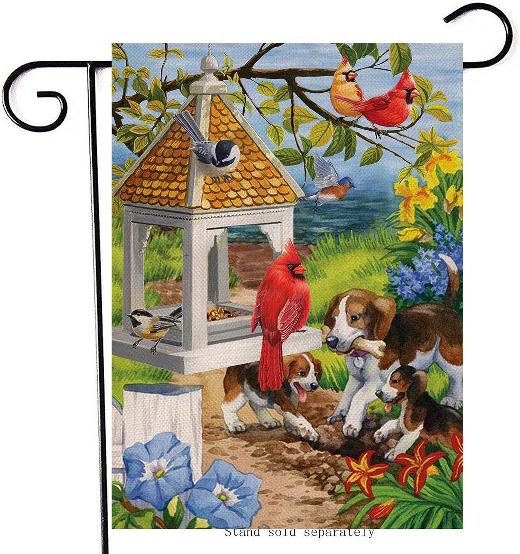 Artofy Spring Cardinal Home Decorative Garden Flag, Morning Glory Daffodil Flower House Yard Red Bird Decor Outside Dog Puppy Decorations, Summer Farmhouse Outdoor Small Burlap Flag Double Sided 12x18