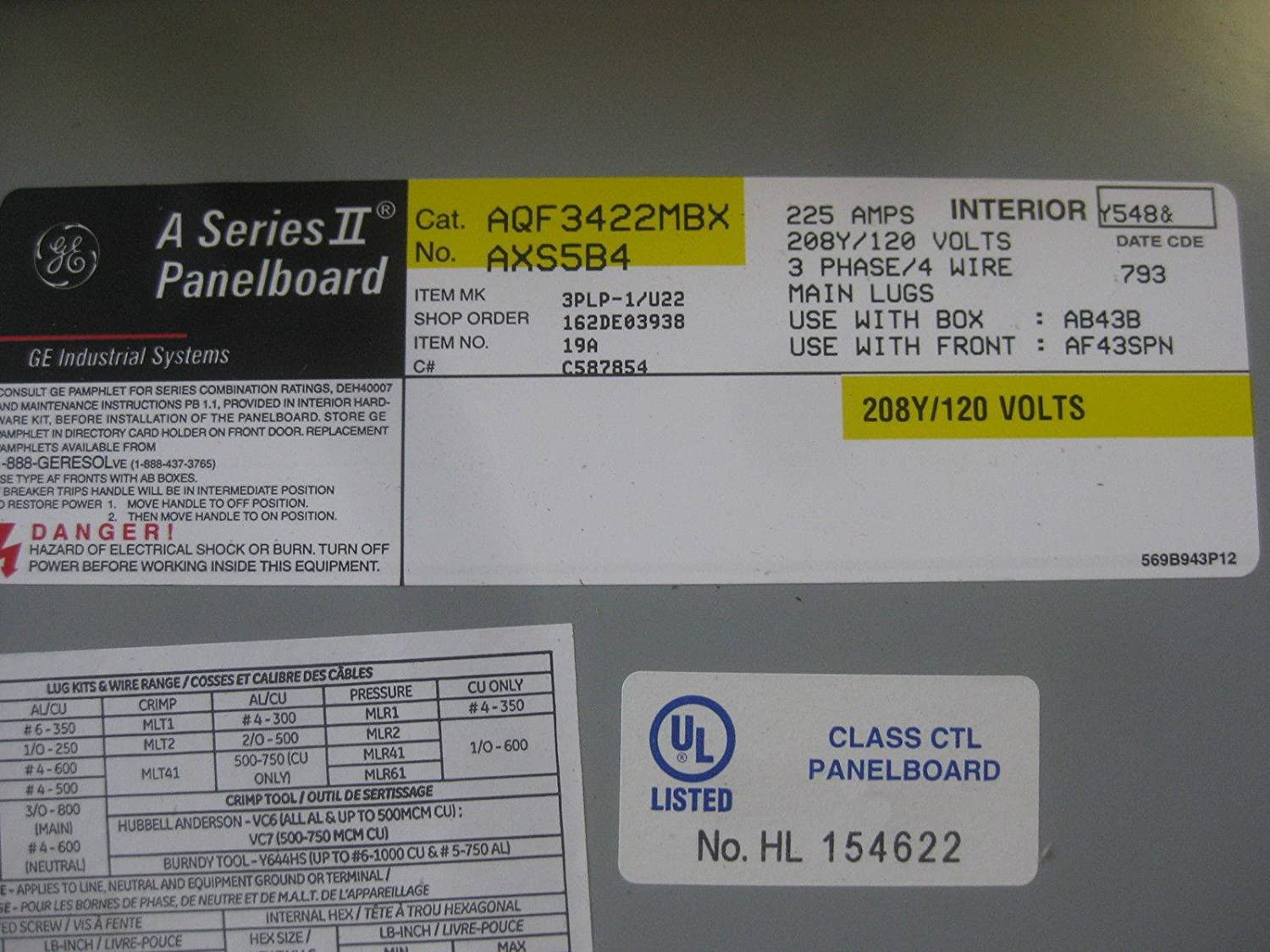 General Electric 225A Breaker Panel 208Y/120 V 3P4W 225 A