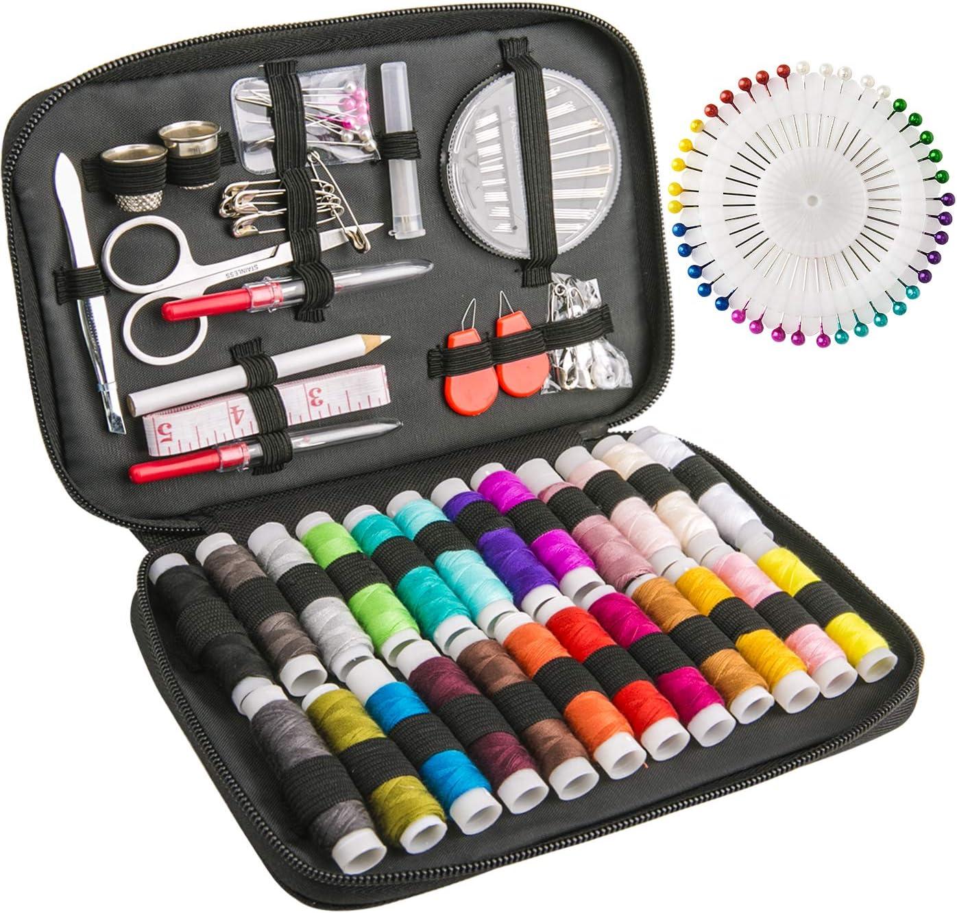 Luxebell Kit de Costura, 92 De Coser Accesorios, Portátil Casa De Coser Conjunto para Adulto Chicas, Mini Casa Costura Caja para Viajes a Domicilio y Uso de Emergencia