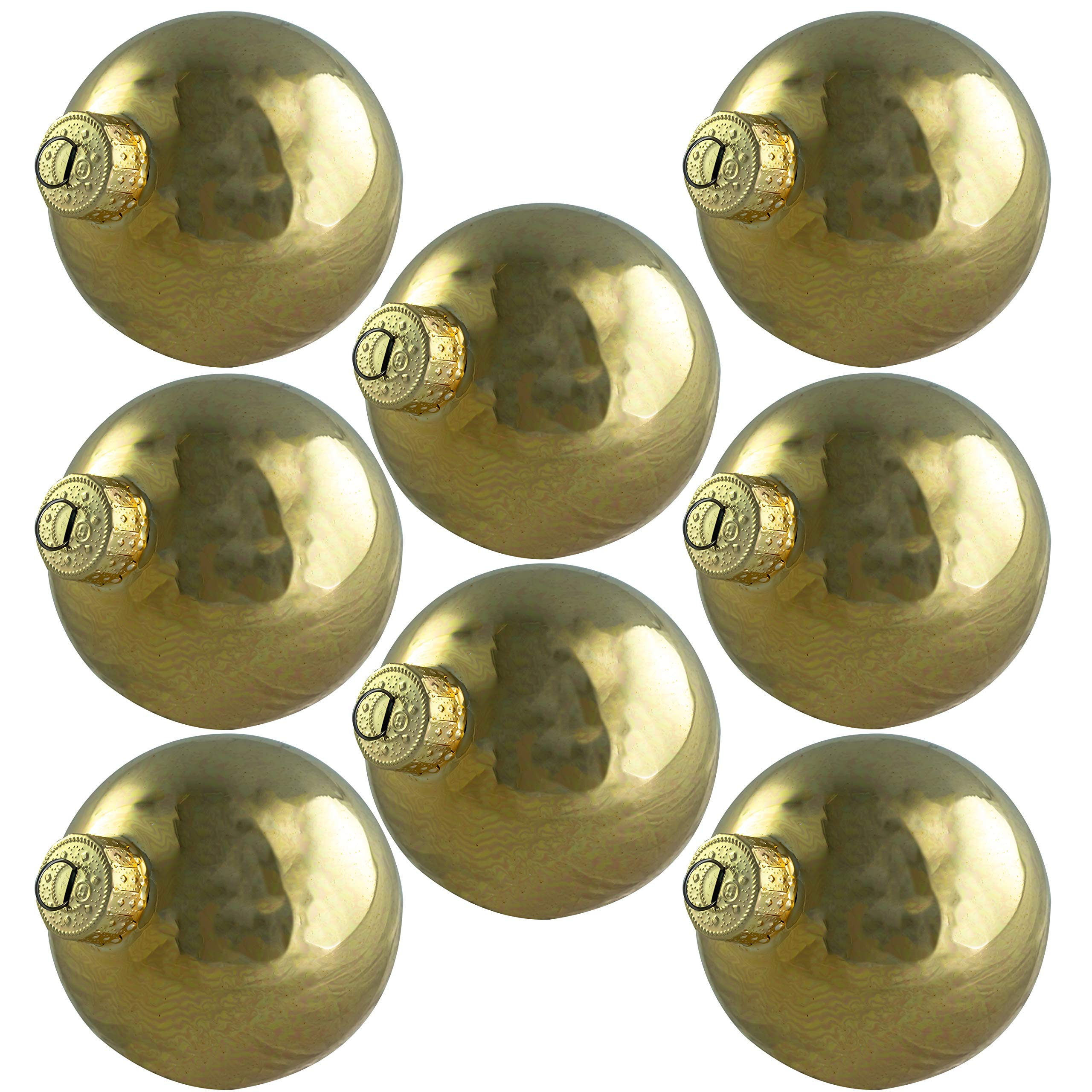 2.6in Glass Xmas Ball Ornaments with Wire Hook Hangers 16 Pack. Small Traditional Shiny Gold Seamless Bulbs. Great for DIY Gifts, Crafts and Tree Decorating. Flame Resistant Christmas Decoration