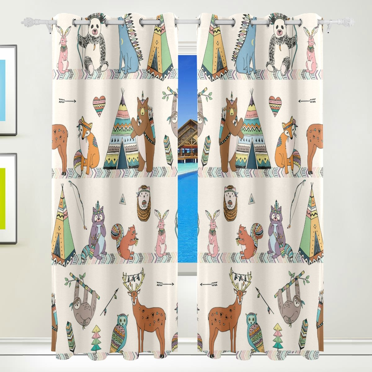 Vantaso Window Curtains 84 Inch Long Tribal Animals Woodland Forest Bear Owls for Kids Girls Boys Bedroom Living Room Polyester 2 Pannels