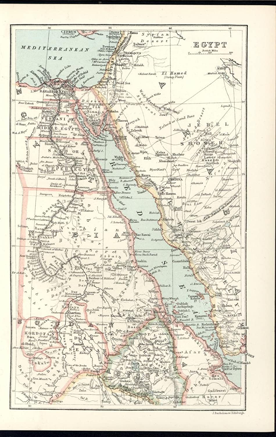 Egypt Red Sea Sinai Peninsula Nile Delta Abyssinia 1885 ...