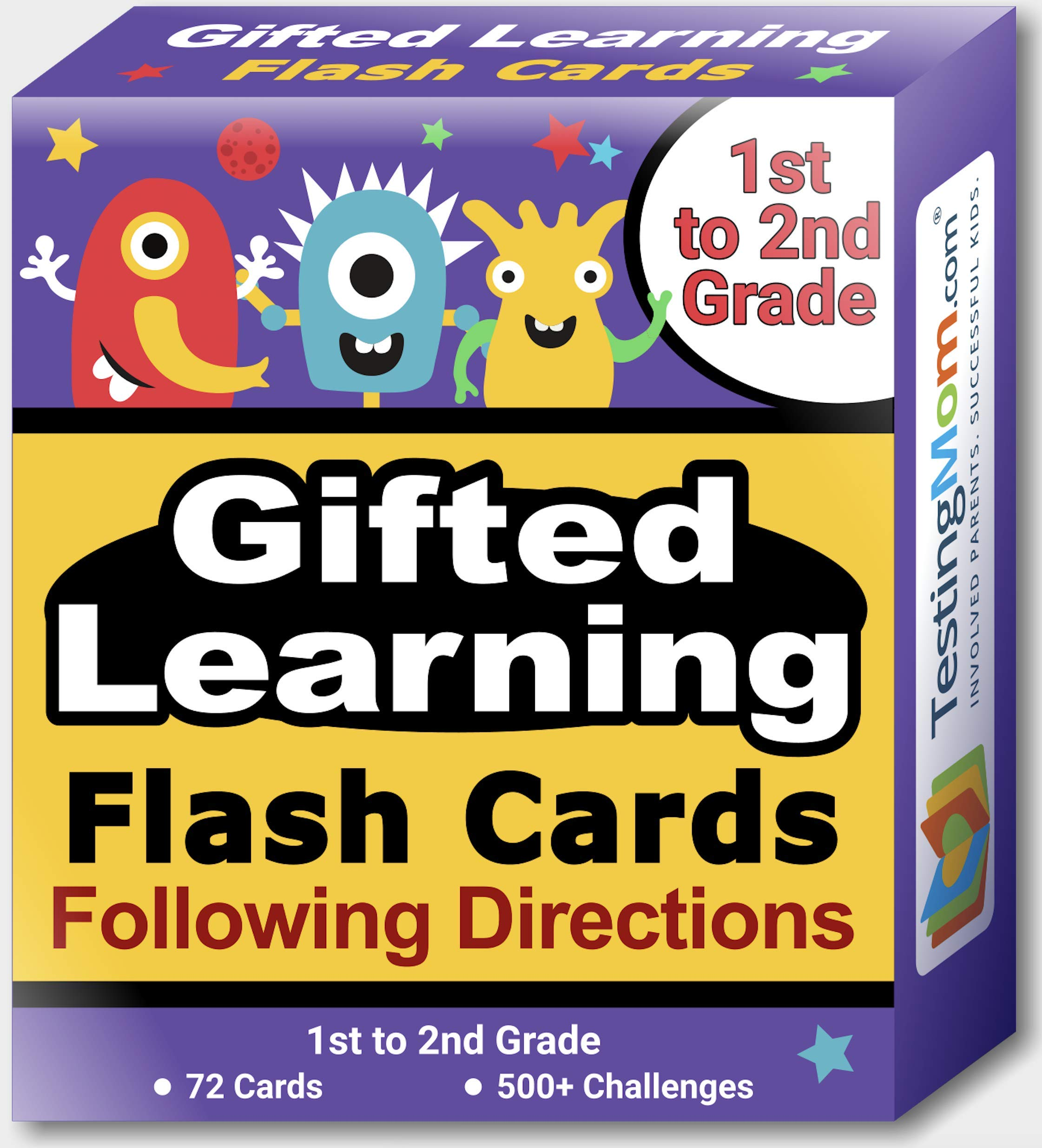 TestingMom.com Gifted Learning Flash Cards - Following Directions for Grade 1-2 - Educational Practice for CogAT Test, OLSAT Test, ITBS, NYC Gifted and Talented, WISC, WPPSI by TestingMom.com