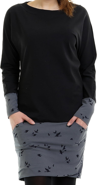3elfen Robe Pull Femme - Sweat Hiver Robes Avec Des Poches De Grisaille-oiseau
