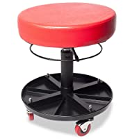 Mechanics Round Garage Motor Bike Workshop Car Service Rolling Seat Stool with Tool Storage Tray
