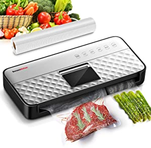 Food Saver Vacuum Sealer Machine 85Kpa Strong Suction, Automatic Hands-Free Vaccume Food Sealer Machine with Smart Air Sealing System | One-Touch Operation | Full Starter Kit