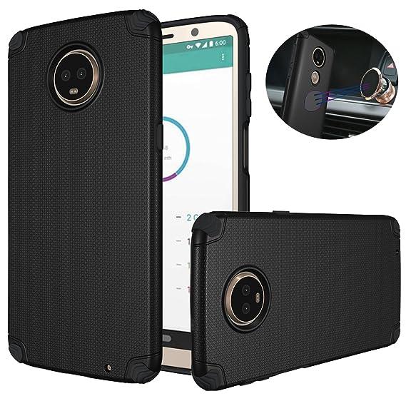 quality design 24907 ec3f1 Moto Z3 Play Case, Dretal Shock-Absorption Armor Magnetic Anti-Slip Texture  Protective Case Cover for Motorola Moto Z3 Play (Black)