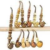 Set of 11pcs Custom Wooden Pipes for Smoking - Churchwarden Tobacco - Handmade of Natural Wood