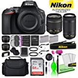 Nikon D5600 24.2MP DSLR Digital Camera with 18-55mm and 70-300mm Lenses (1580) USA Model Deluxe Bundle -Includes- Sandisk 64G