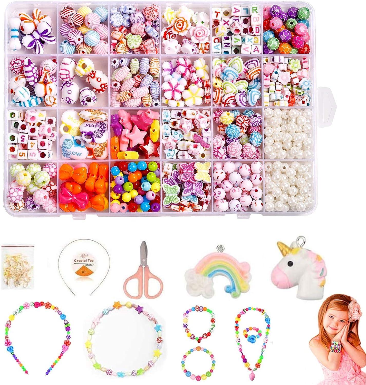 Cuentas Coloridas para Hacer Joyas,Abalorios Perlas de Agua,Abalorios Colores Macrame,Abalorios Colores Plastico,Bricolaje Cuentas,Pulseras Kit,Hacer Joyas para Niños