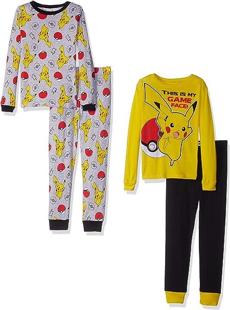 Pokemon Boys Pikachu 4-Piece Cotton Pajama Set Pikachu Yellow 10