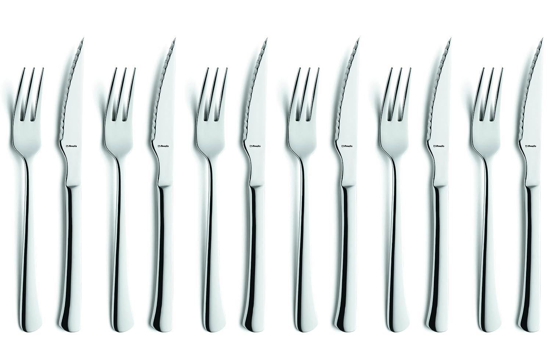 Amefa Chuletero 703800Z200B21 - Juego de Tenedor y Cuchillo de Carne (12 Unidades, Acero Inoxidable)