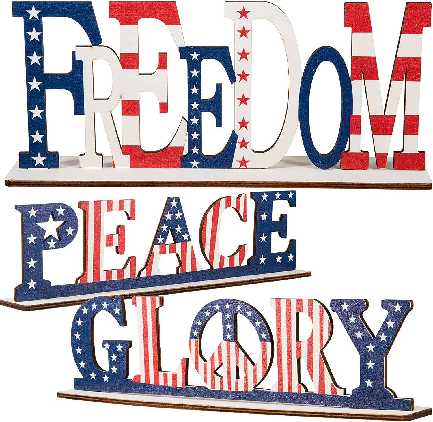 3 Pack Independence Day Wood Tabletop Decorations- 4th of July American Flag Freedom Peace Glory Letter Signs Pattern Patriotic Table Centerpiece for Independence Day Home Office Parties Table Decors
