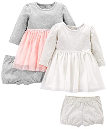 d9d02fdd39d Simple Joys by Carter's Baby Girls' 2-Pack Long-Sleeve Dress Set with  Bloomers