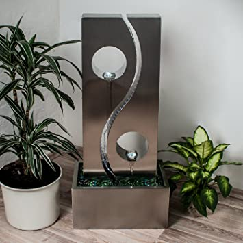 Köhko® Wassserwand Yin Yang Mit LED Beleuchtung Höhe Ca. 90 Cm  Springbrunnen Wasserspiel