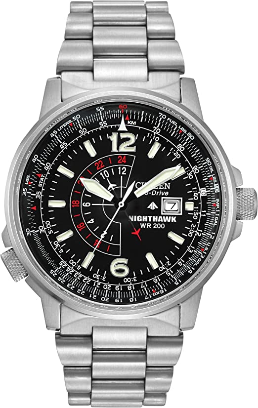 Amazon Com Citizen Men S Eco Drive Promaster Nighthawk Dual Time Watch With Date Bj7000 52e Citizen Watches