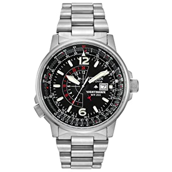 dc1eed2628b Amazon.com  Citizen Men s Eco-Drive Promaster Nighthawk Dual Time ...