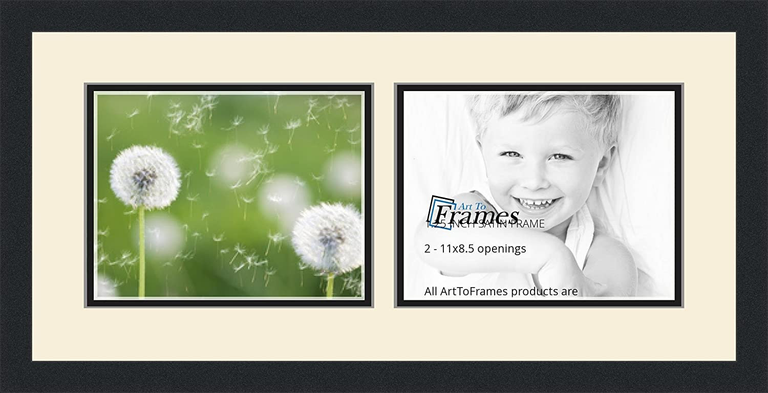 Art to Frames Double-Multimat-243-128//89-FRBW26079 Collage Photo Frame Double Mat with 2-8.5x11 Openings and Satin Black Frame