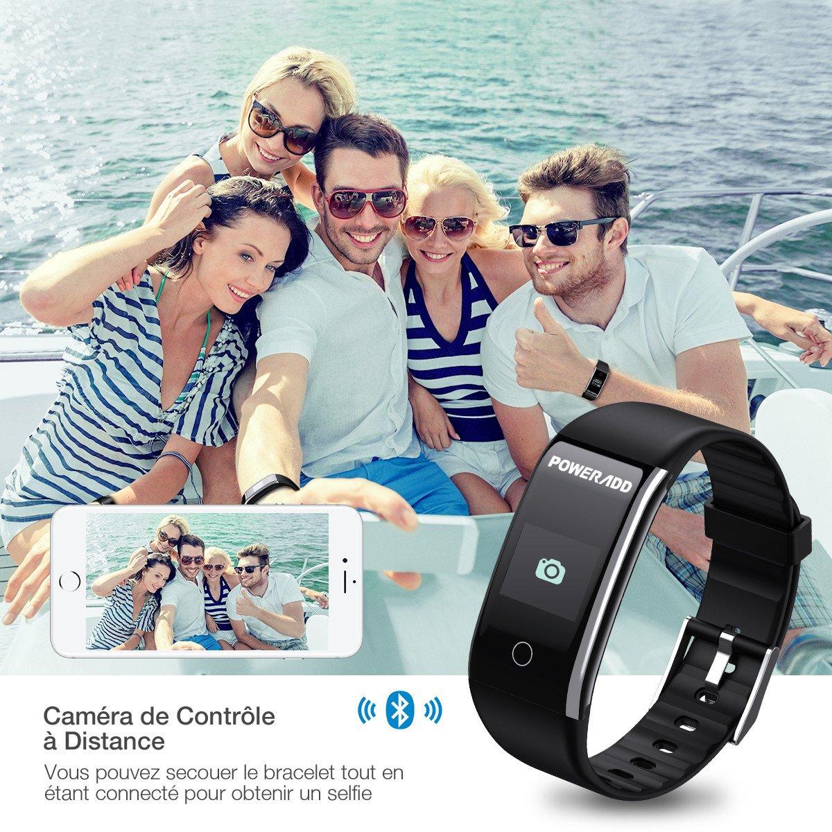 POWERADD Bracelet Connecté, Montre Connectée Fitness Tracker d\'Activité Etanche IP67 Smartwatch Cardiofréquencemètre, Sphygmomanomètre, Podomètre, Sommeil, Calories, Distance, Appel, Rappel sédentaire, Band Bluetooth Femme Homme Enfant pou