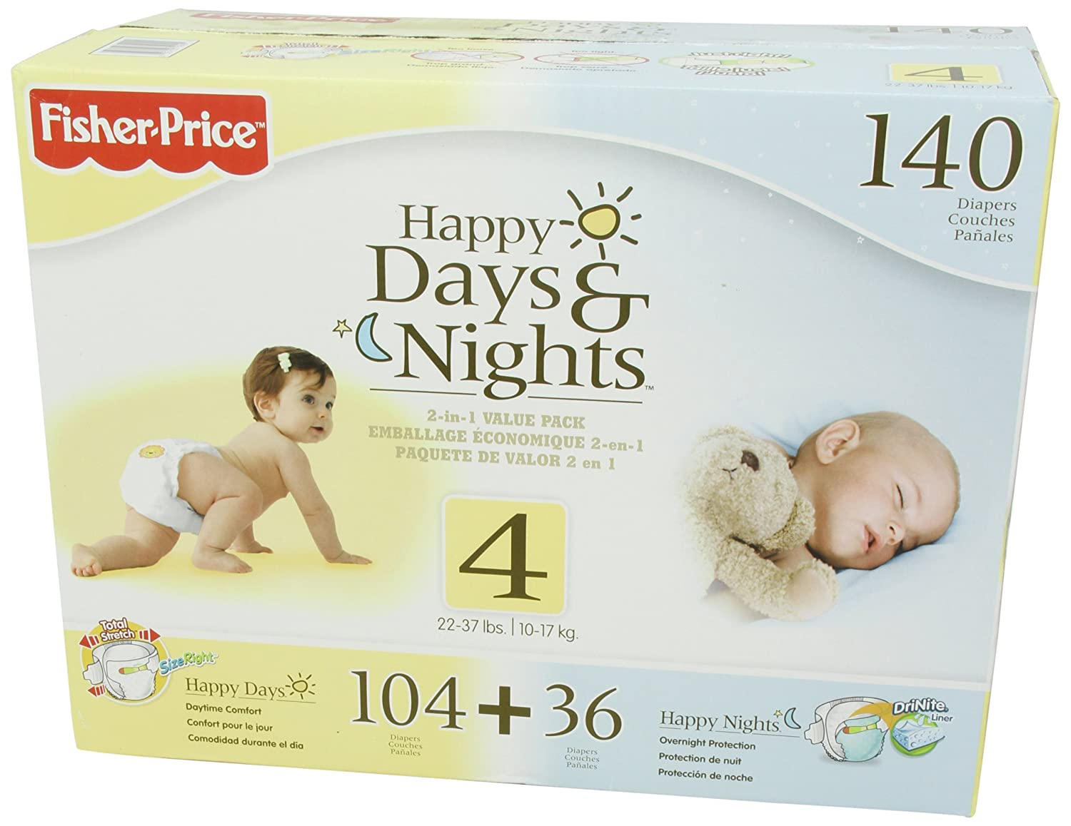 Amazon.com: Fisher Price Happy Day and Night Baby Diapers Size 4, 140 Count: Health & Personal Care