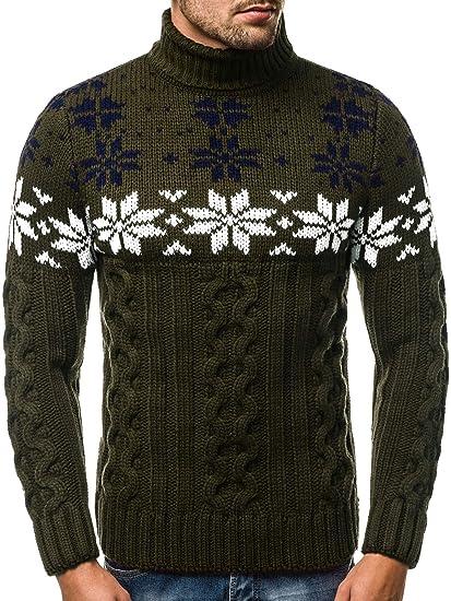 OZONEE Herren Rollkragenpullover Pullover Strickpullover Arbeitspullover Sweater Winterpullover MAD2808