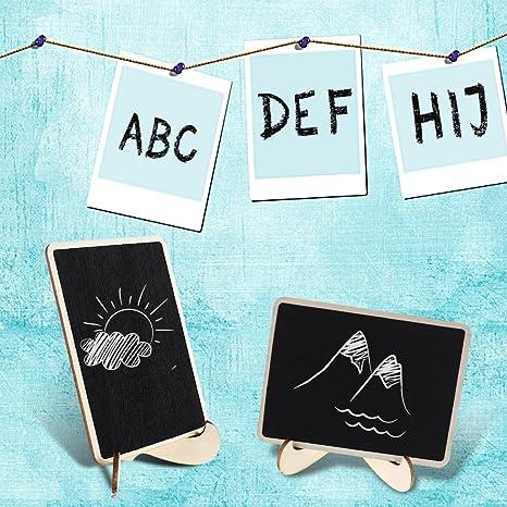 OULII Mini pizarras de rect/ángulo con soporte para mensajes Junta signos cena partido tabla tarjeta del lugar signos regalos de boda para las madres pack de 10