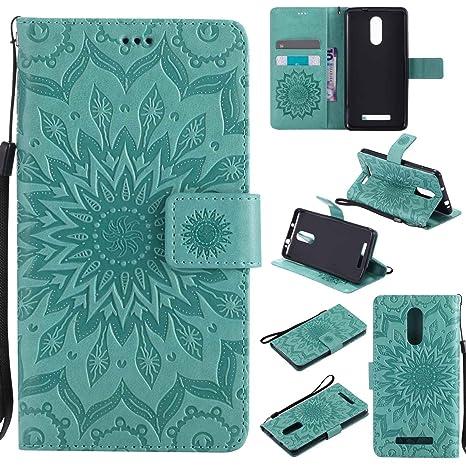 pinlu® Flip Funda de Cuero para Xiaomi Redmi Note 3 / Note 3 Pro Carcasa con Función de Stent y Ranuras con Patrón de Girasol Cover (Verde)