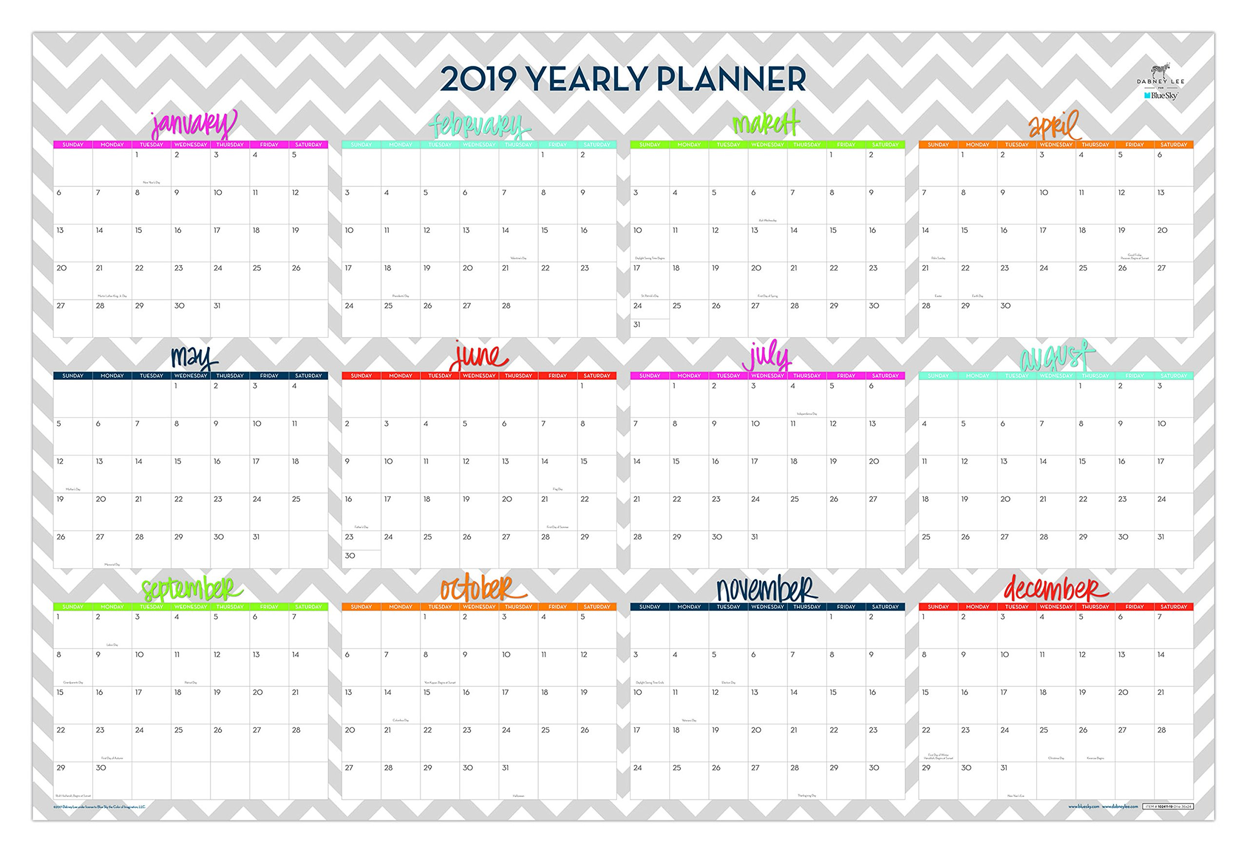 Dabney Lee for Blue Sky 2019 Laminated Erasable Wall Calendar, January 2019 - December 2019, Double Sided, 36'' x 24'', Ollie