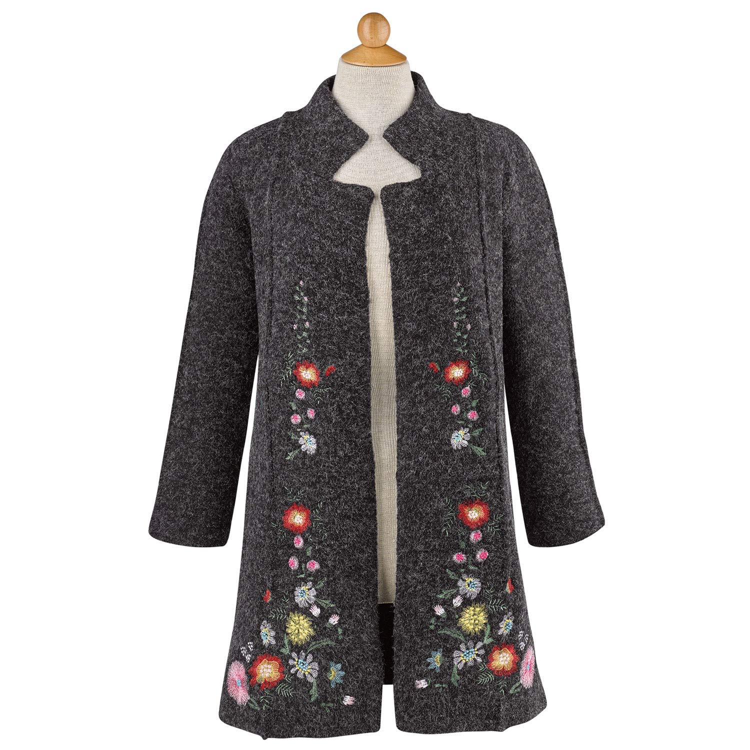 Rising International Women's Heidi Sweater Coat - Embroidered Floral Jacket