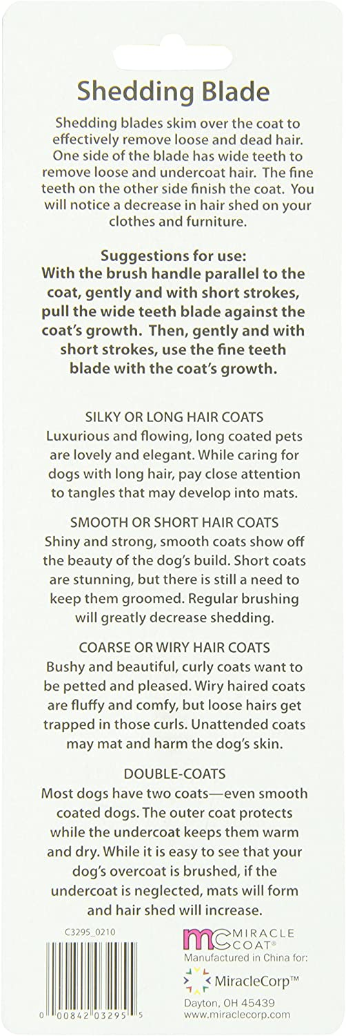 Miracle Coat Dogs and Small Animal Shedding Blade Cats Small