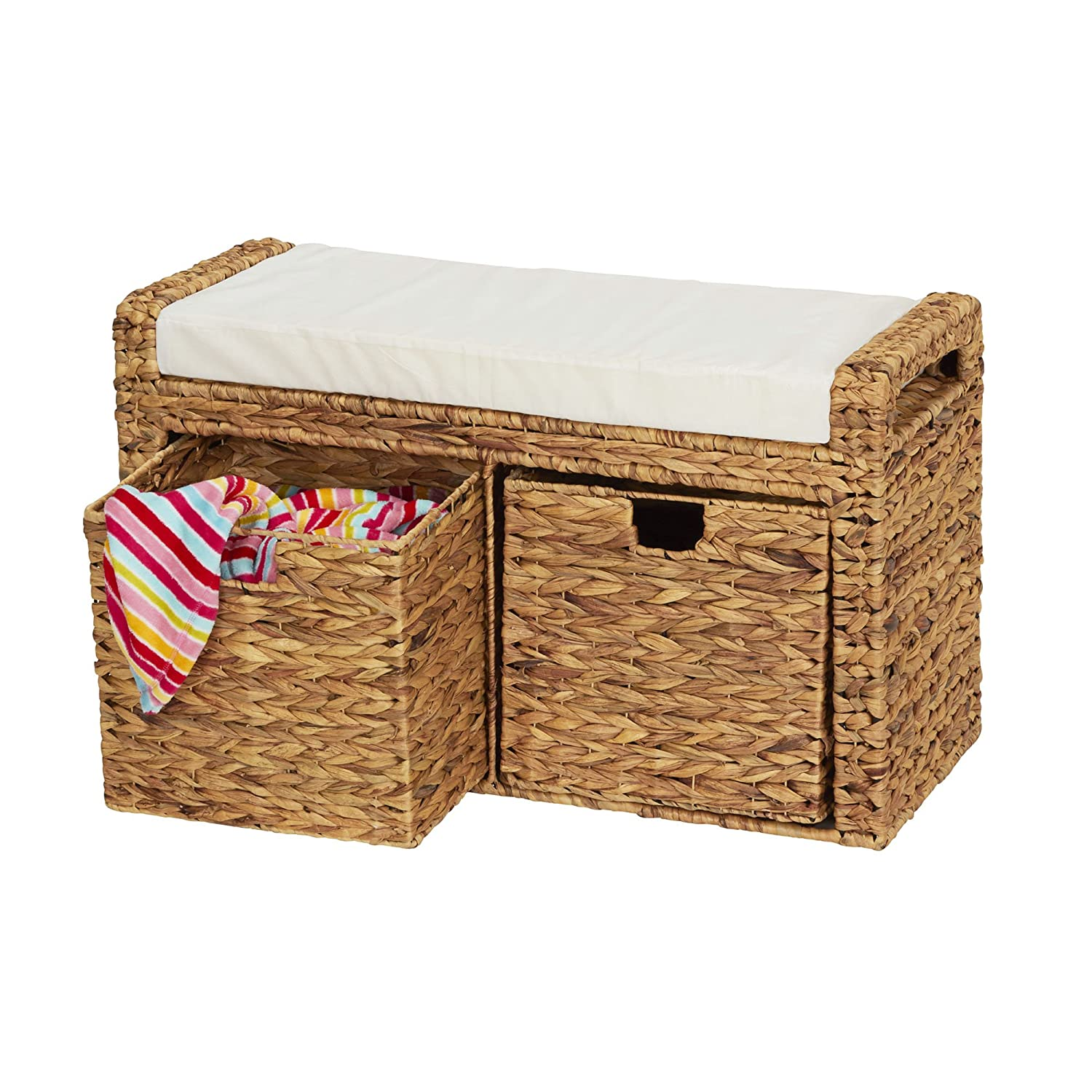 Natural Wicker Cushioned Bench with Storage Cubes
