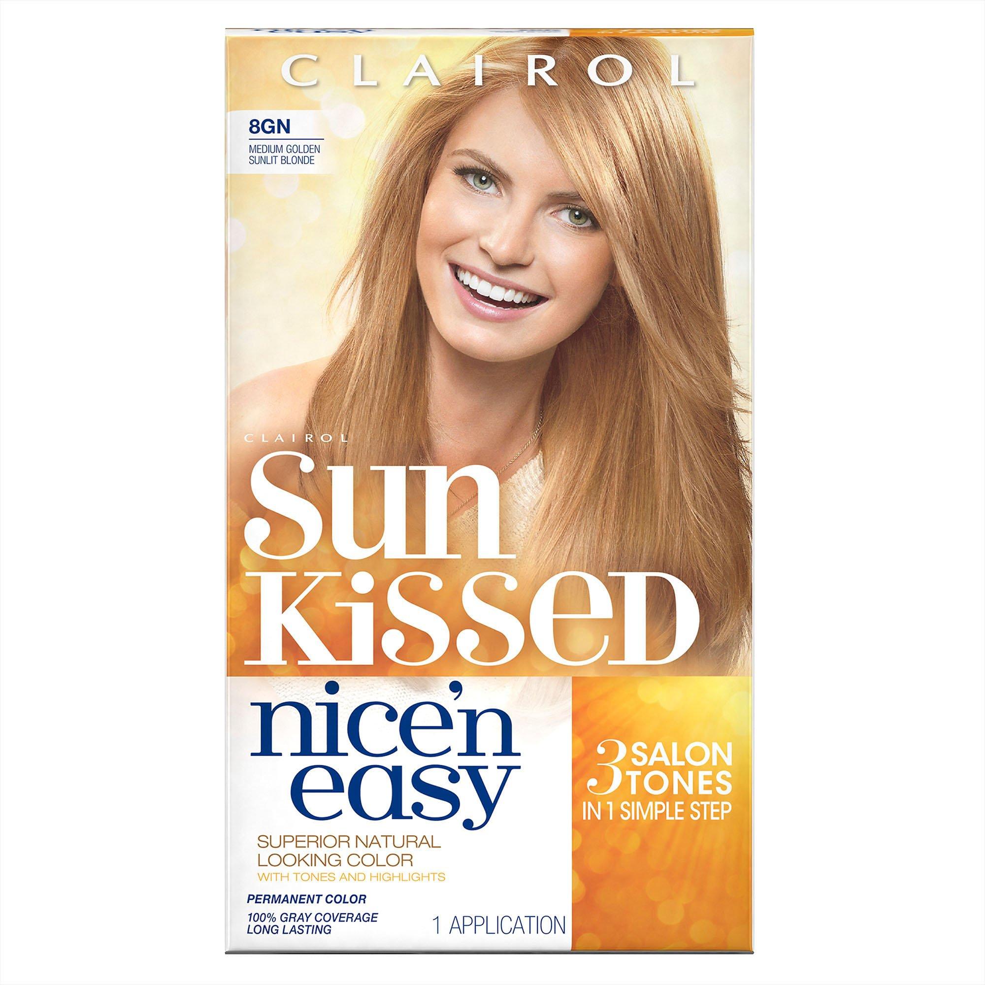 Clairol Nice 'n Easy, 8GN Medium Golden Sunlit Blonde, Permanent Hair Color, 1 Kit (Packaging may vary)