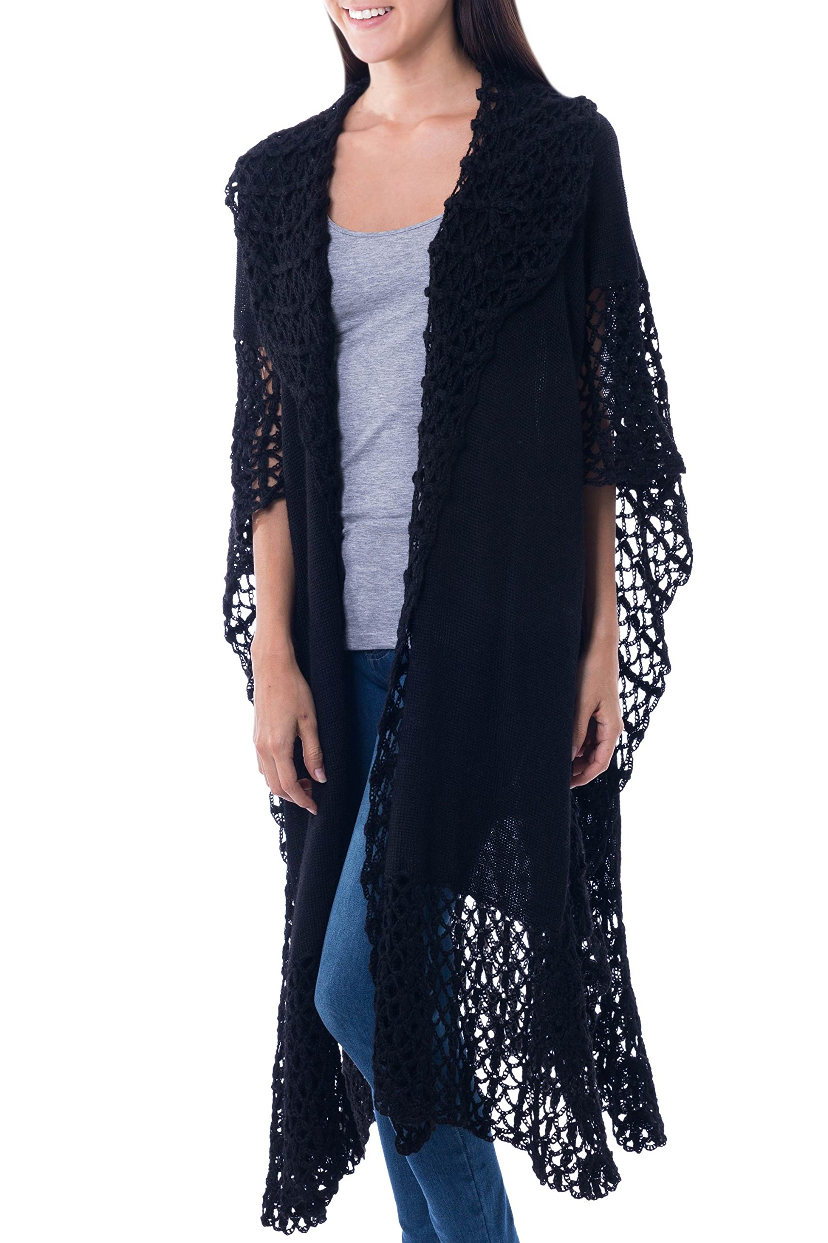 NOVICA Black 100% Alpaca Ruana Cloak, 'Ebony Whisper'