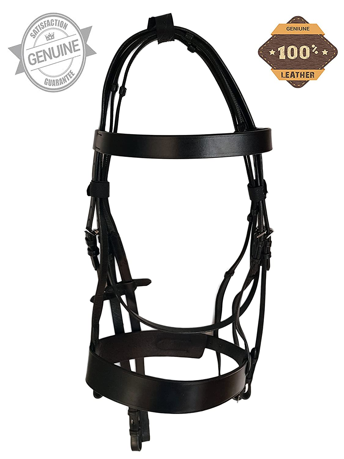 FULL Pets2Care PLAIN HUNTER BRIDLE BROWN WITH 2 NOSEBAND /& 1 BROWBAND PREMIUM QUALITY