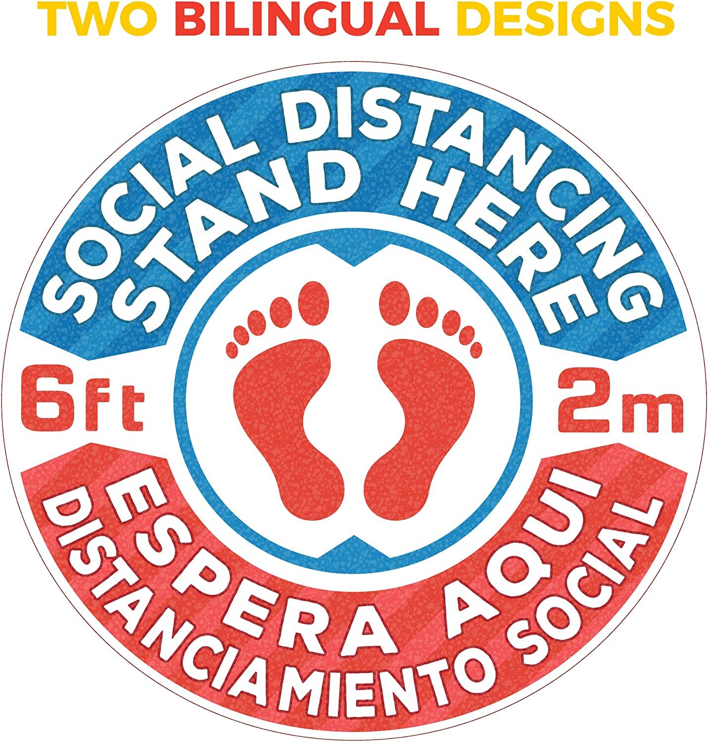 USA Large Safety Floor Sign Markers for Crowd Control Guidance DuroSigns Premium Bilingual Social Distancing Floor Carpet Signs Stickers 16 6-Pack