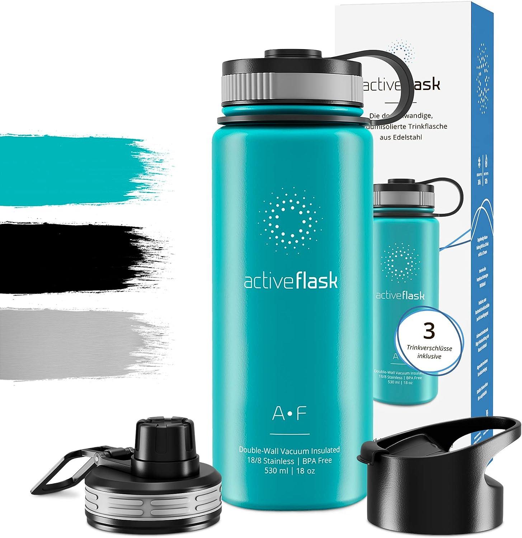 Botella de Agua Térmica Active Flask + 3 Tapones sin BPA - 1l & 500ml | Frasco Termo de Acero Inoxidable + Aislamiento Vacío | Cantimplora Aislada Oficina Bicicleta Deporte Caliente Fría Café Té