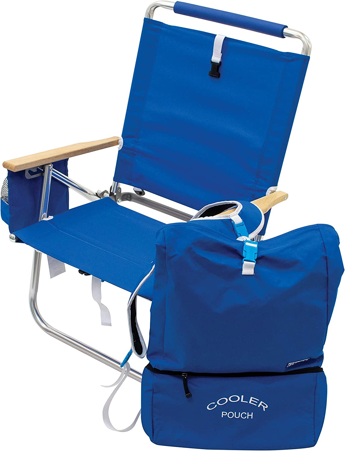 Rio Brands Beach 4-Position Easy-in/Easy-Out Folding Backpack Beach Chair with Removable Pack, Blue, 12""